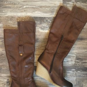 ALDO Knee high tall Leather Wedge boots brown 8.5
